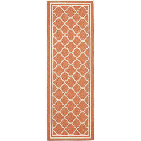 Safavieh Courtyard Collection Crispian Geometric Indoor/Outdoor Runner Rug, One Size , Red