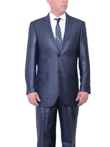 Navy Blue Big and Tall 2 Button Classic Fit Sharkskin Side Vent Suit