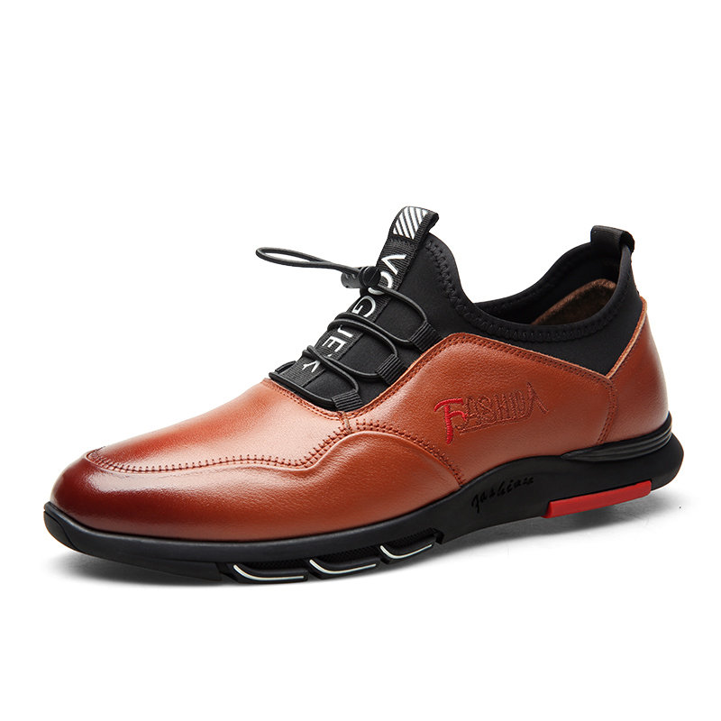 Men Comfy Cow Leather Elastic Lace Up Soft Casual Shoes