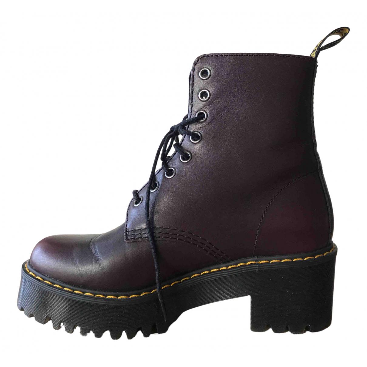 Dr. Martens - Boots   pour femme en cuir - bordeaux