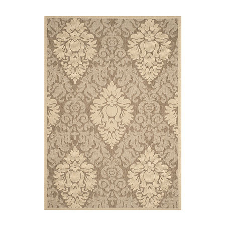 Safavieh Courtyard Collection Louise Damask Indoor/Outdoor Area Rug, One Size , Brown