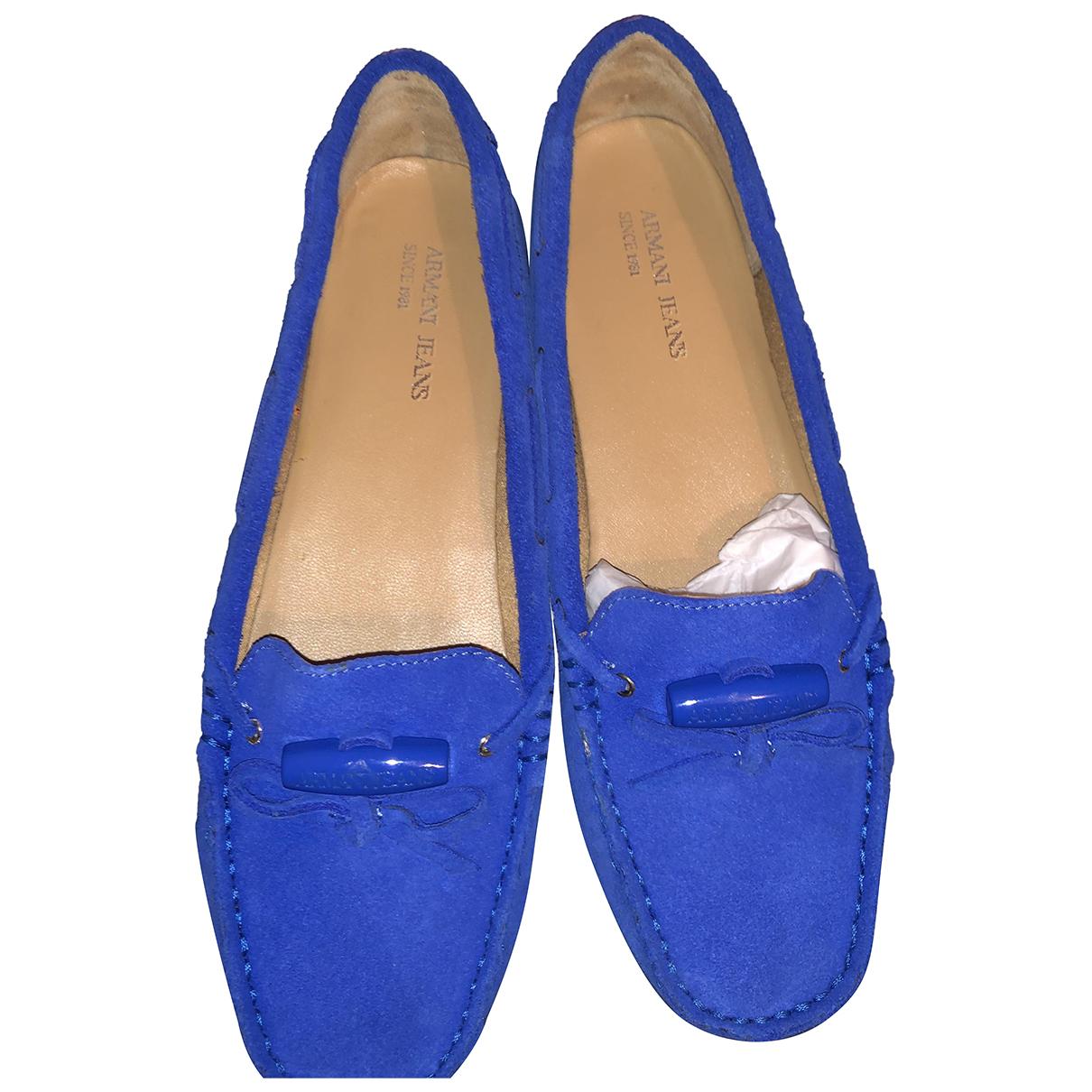 Armani Jeans N Blue Suede Flats for Women 37 EU