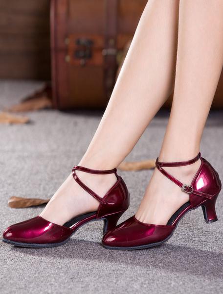 Milanoo Black Dance Shoes Women Round Toe Criss Cross Tango Dance Shoes Latin Dancing Shoes