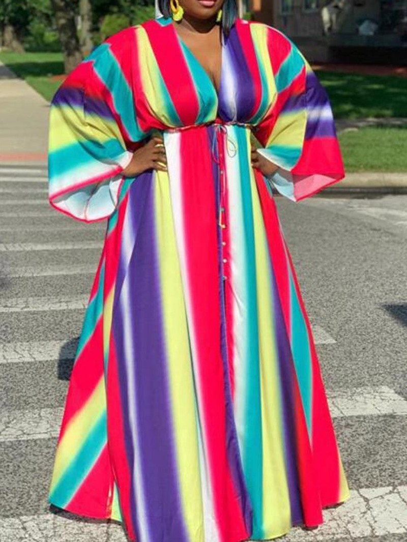 Ericdress Plus Size Striped A-Line Floor-Length Flare Sleeve Fashion Dress