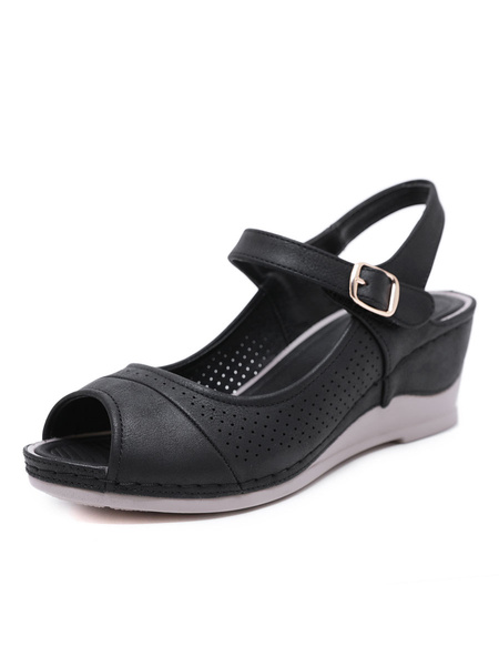 Milanoo Women Wedge Sandals Chic PU Leather Breathable