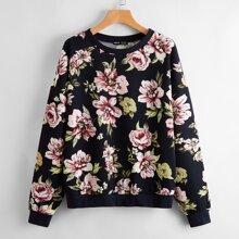 Drop Shoulder Floral Print Pullover
