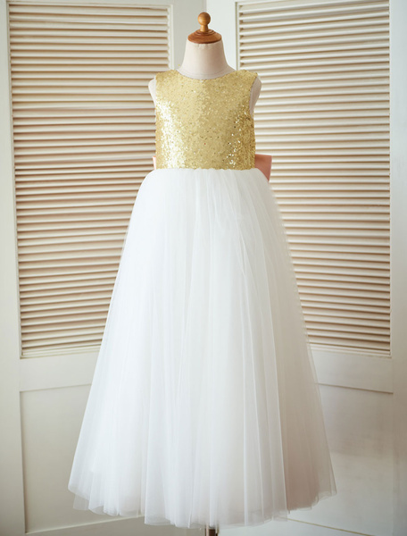 Milanoo Flower Girl Dress Princess Sequined Sleeveless Backless Tulle Tea-Length Pageant Dress With Satin Bow
