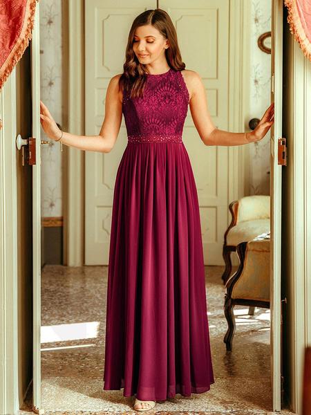 Milanoo Vestido de dama de honor Una linea Hasta el suelo Vestido de fiesta de encaje sin espalda Vestido de fiesta formal