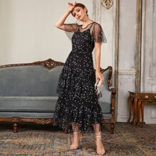 Flutter Sleeve Star Mesh Overlay Layered Dress