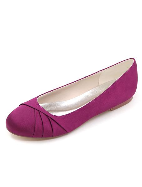 Milanoo Zapatos de novia de saten Zapatos de Fiesta Color champaña Zapatos de puntera redonda Zapatos de boda 0.5cm