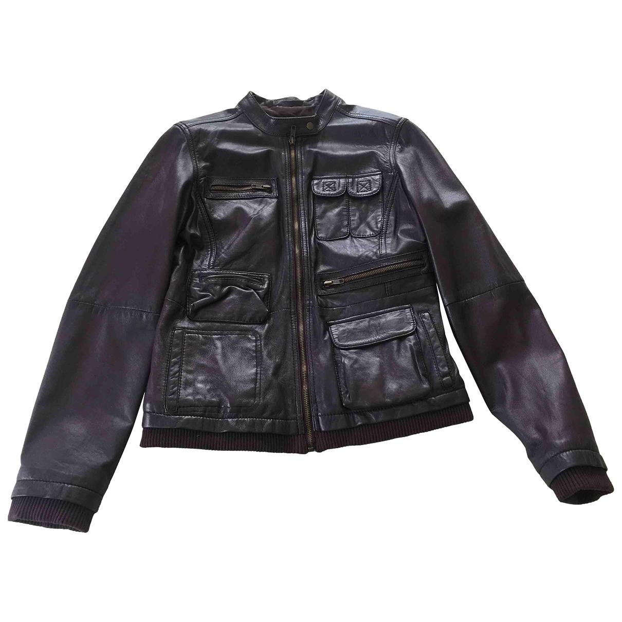 - Blouson   pour femme en cuir - violet