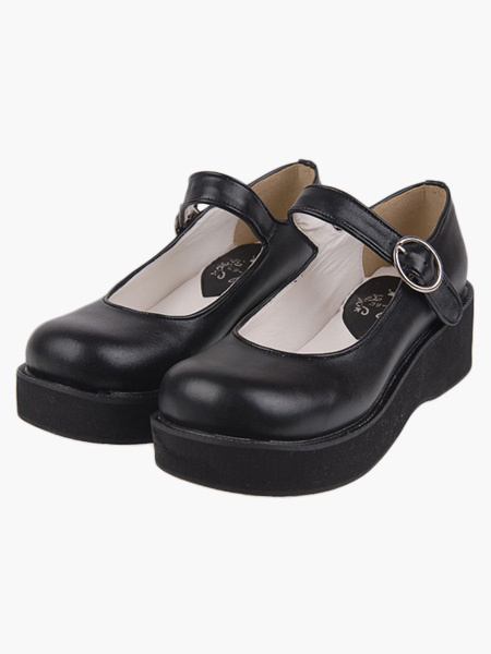 Milanoo Kawayi Black Lolita Shoes Platform Shoes with Buckles Strap