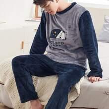 Men Cartoon Graphic Flannel PJ Set