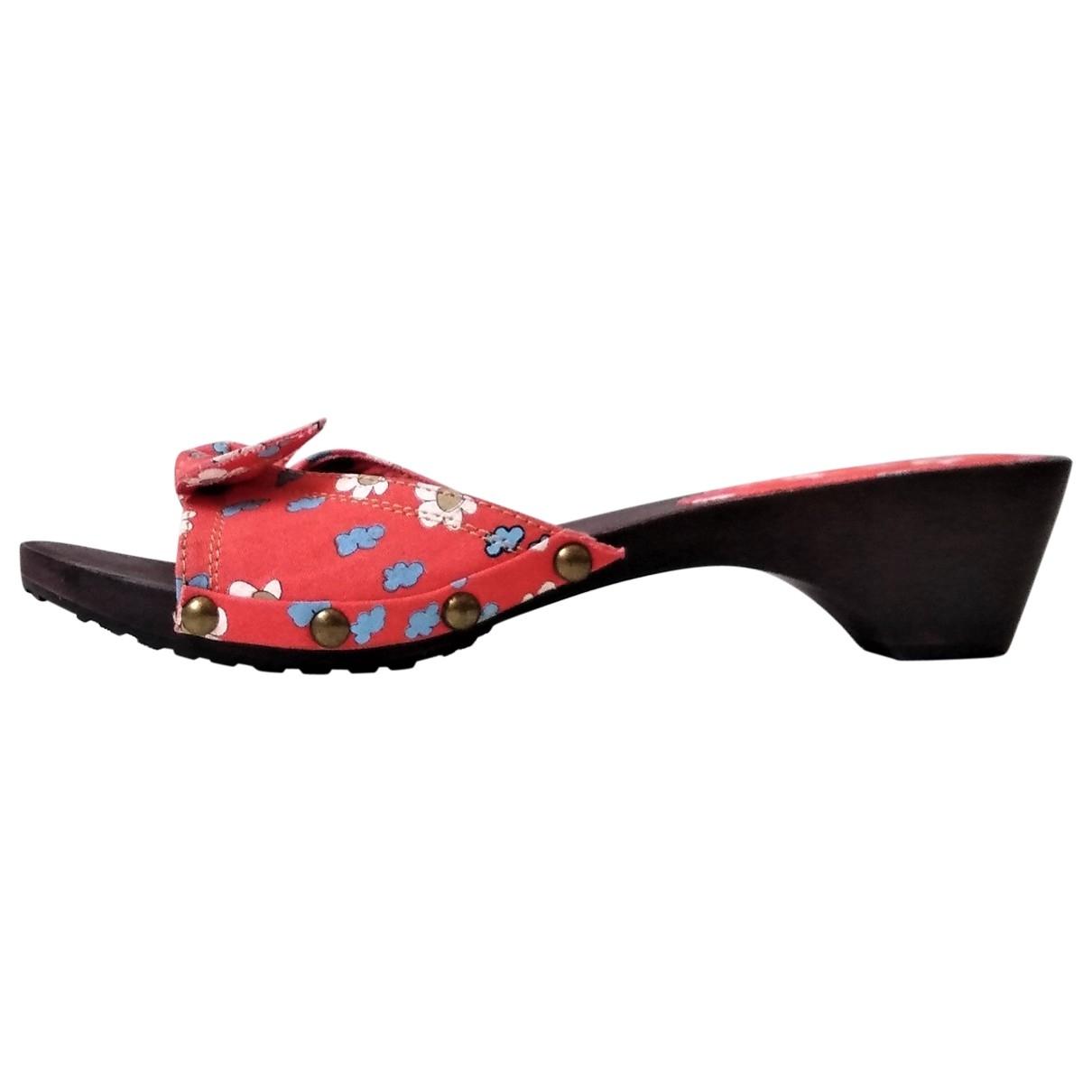 - Sandales   pour femme en toile - rouge