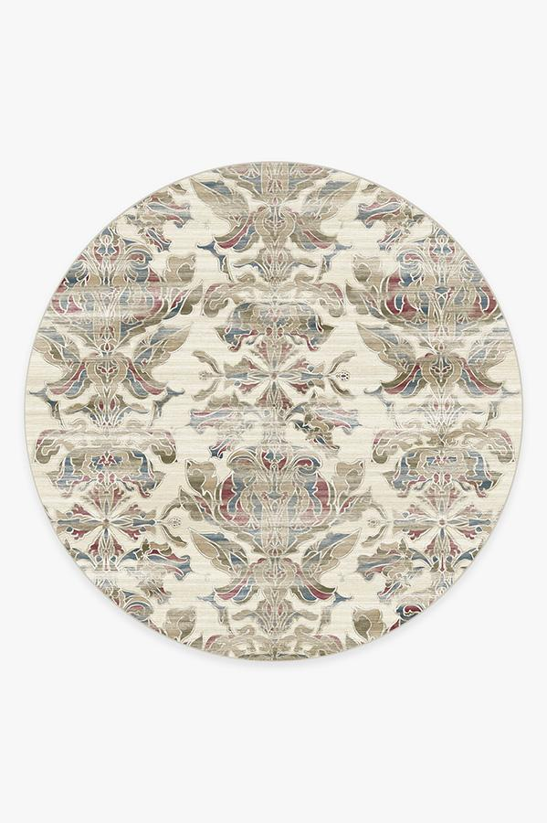 Washable Rug Cover   Transitional Damask Natural Rug   Stain-Resistant   Ruggable   8' Round