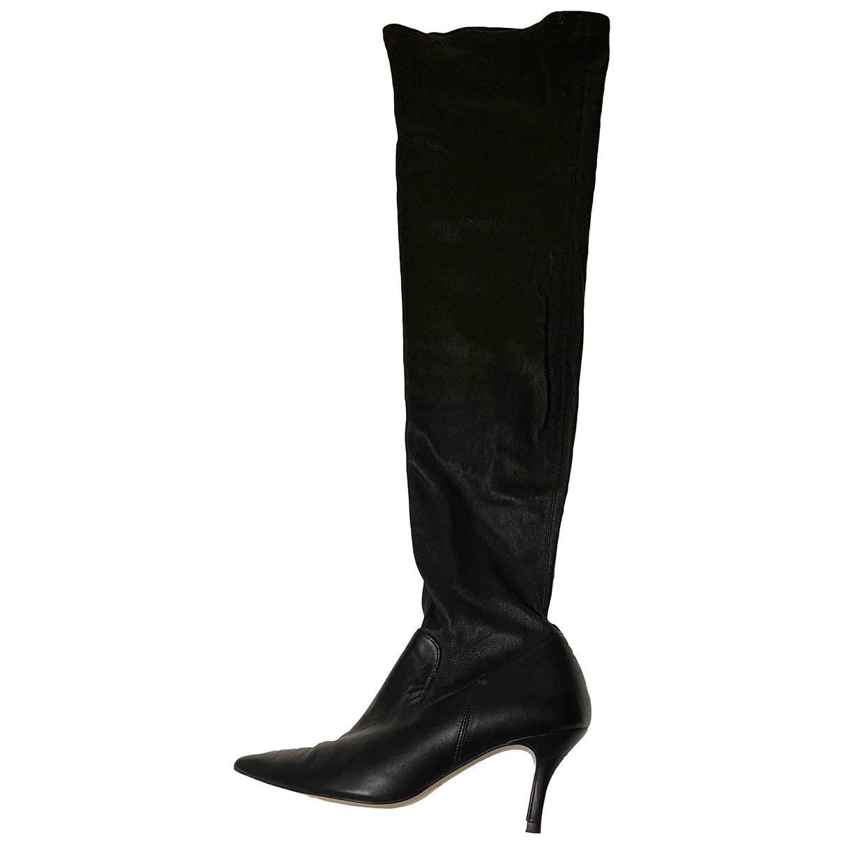 Uterque - Bottes   pour femme en cuir - noir