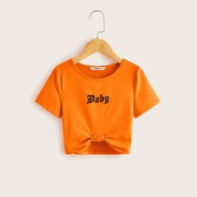 Girls Neon Orange Letter Graphic Knotted Tee