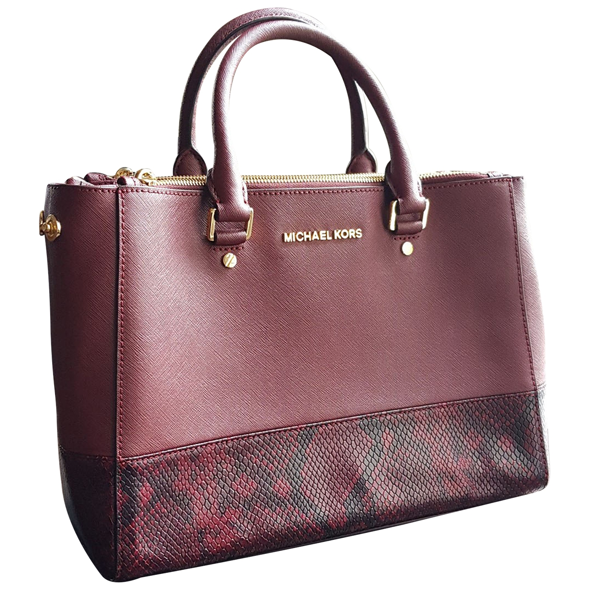 Michael Kors Savannah Handtasche in  Bordeauxrot Leder