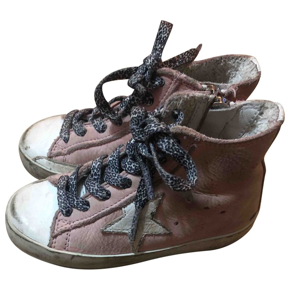 Golden Goose - Baskets Francy pour enfant en cuir - rose