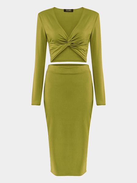 Yoins Green Cross Front Crop top & Midi Skirt Co-ord