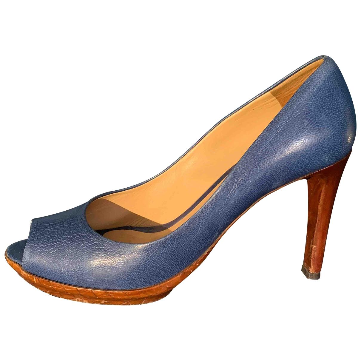 Bottega Veneta - Escarpins   pour femme en cuir - bleu