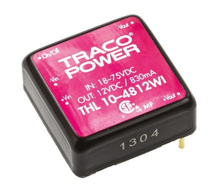 TRACOPOWER THL 10WI 10W Isolated DC-DC Converter Through Hole, Voltage in 18 ? 75 V dc, Voltage out 12V dc
