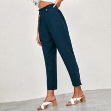 Hose mit Raffung Taille, Knopfen Detail und Falten