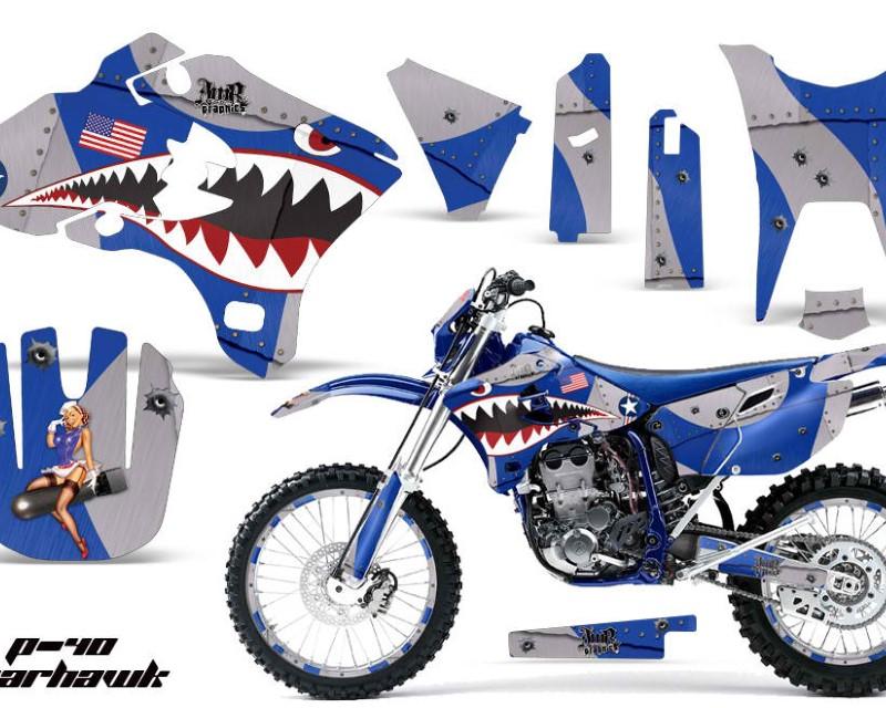 AMR Racing Graphics MX-NP-YAM-WR250F-WR450F-03-04-WH U Kit Decal Sticker Wrap + # Plates For Yamaha WR250F WR450F 2003-2004 WARHAWK BLUE