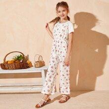 Girls Pocket Front Ditsy Floral Pinafore Jumpsuit