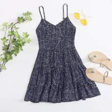Cami Kleid mit Dalmatiner Muster und mehrschichtigem Saum