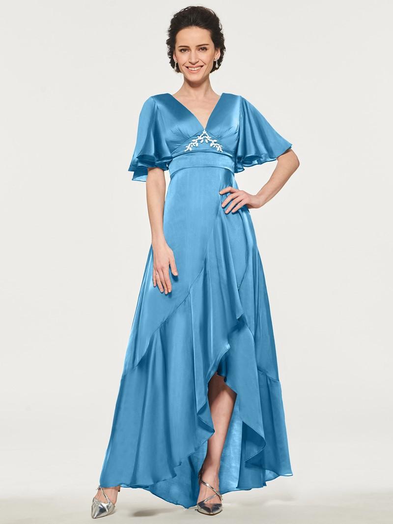 Ericdress Short Sleeve Beading Asymmetry Mother of the Bride Dress