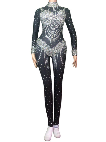 Milanoo Jazz Dance Costume Sexy Jumpsuits Black Beaded Women Nightclub Wear Halloween