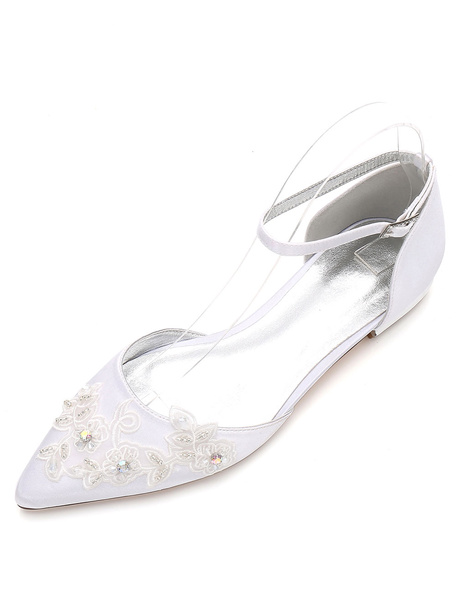 Milanoo White Wedding Shoes Pointed Toe Flat Lace Ankle Strap Bridal Shoes