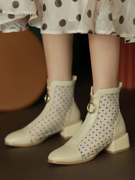 Milanoo Apricot Summer Boots Women Round Toezip Up Ankle Boots