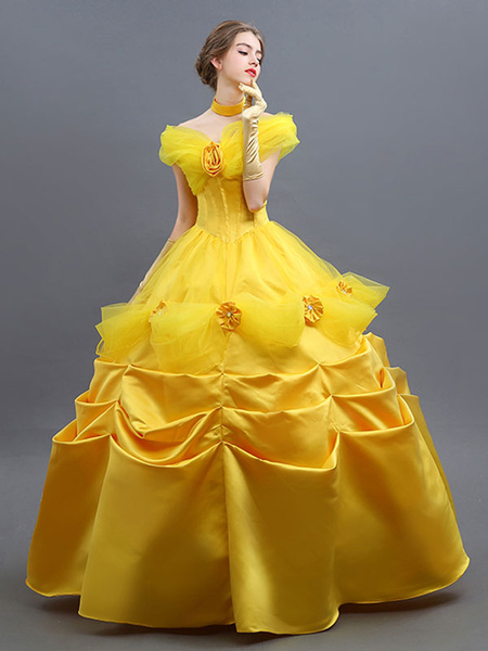 Milanoo Beauty And The Beast Costume 2020 Belle Cosplay Ball Gown Dress Outfit Halloween Deluxe Edition