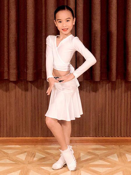 Milanoo Kids Latin Dance Dresses White Girls Set Lycra Spandex TopSkirt Dancing Costume