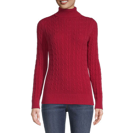 St. John's Bay Cable Womens Turtleneck Long Sleeve Pullover Sweater, Petite X-large , Red