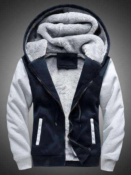 Milanoo Black Men's Hoodie Lined Contrast Color Zip Up Hooded Jacket