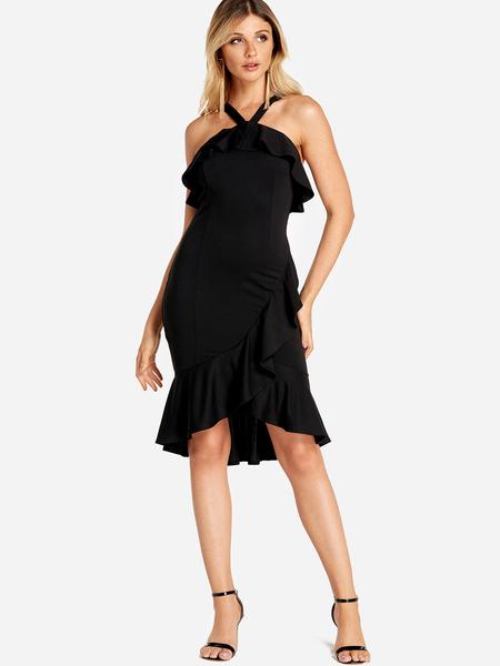 Yoins Black Flounced Design Halter Mini Length Dress