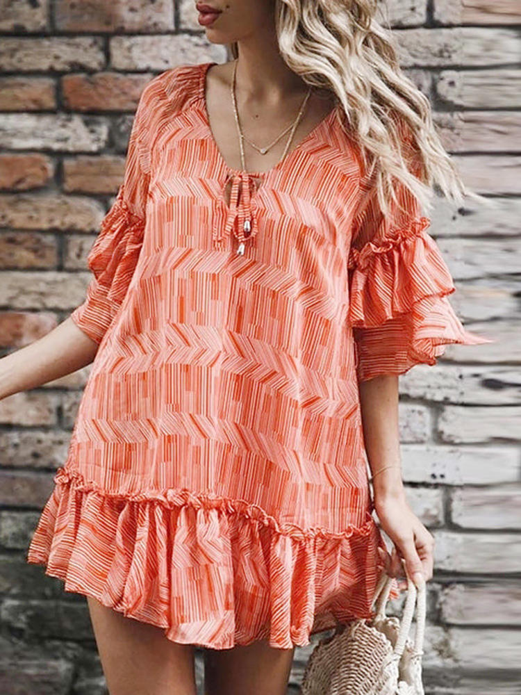 Casual Women Striped V-Neck Chiffon Dress