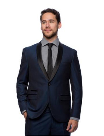 West End Mens Young Look Slim Fit Collar Satin Detailed Tuxedo Navy