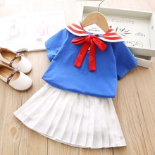 Toddler Girls Sailor Collar Tee & Pleated Dress