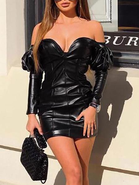 Milanoo Vestido de club sin tirantes sexy de manga larga de cuero de la PU sin cupon vestido sexy negro