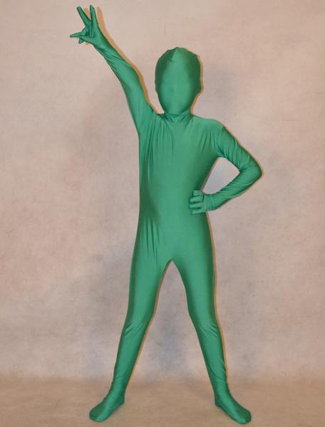 Milanoo Halloween Dark Green Unisex Lycra Spandex Fashion Unicolor Zentai Suits For Kids Halloween