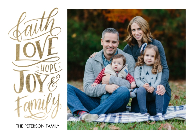 Christmas Photo Cards Flat Glossy Photo Paper Cards with Envelopes, 5x7, Card & Stationery -Christmas Faith Love Hope by Tumbalina