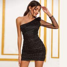 DKRX Kleid mit Raffungsaum, Ruesche und Netzstoff