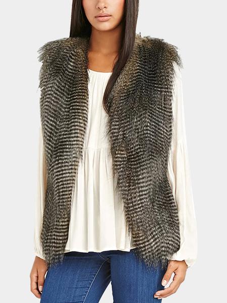 Yoins Black Side-Paneled Fur Sleeveless Gilet