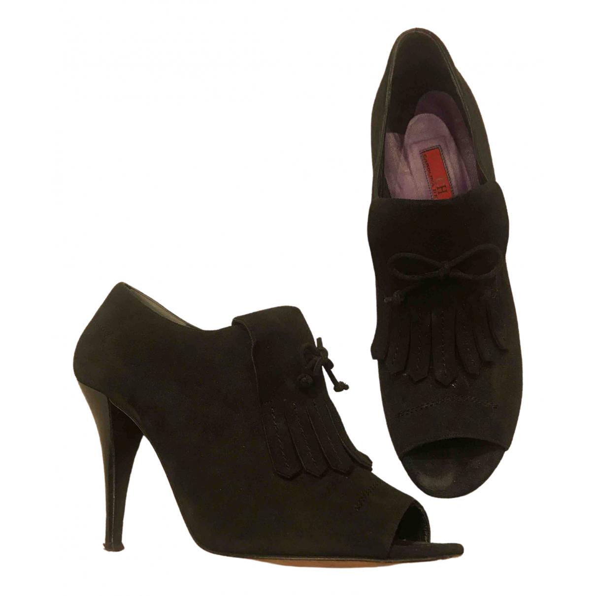 Carolina Herrera \N Black Suede Ankle boots for Women 41 EU