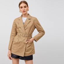 Zweireihiger Mantel mit Taschen Flicken und Guertel