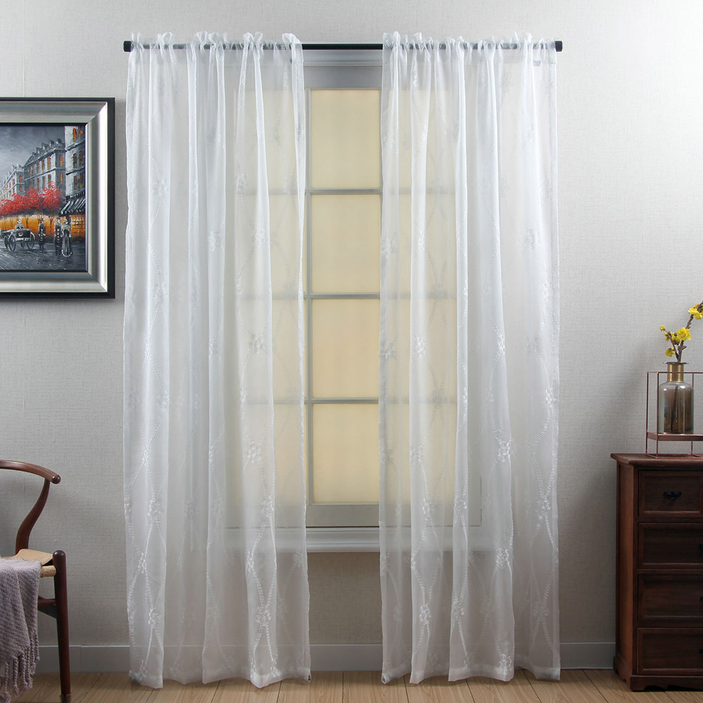 Simple Geometric Embroidered Custom White Living Room Sheer Curtains Breathable Voile Drapes Never Fading Cracking Peeling or Flaking